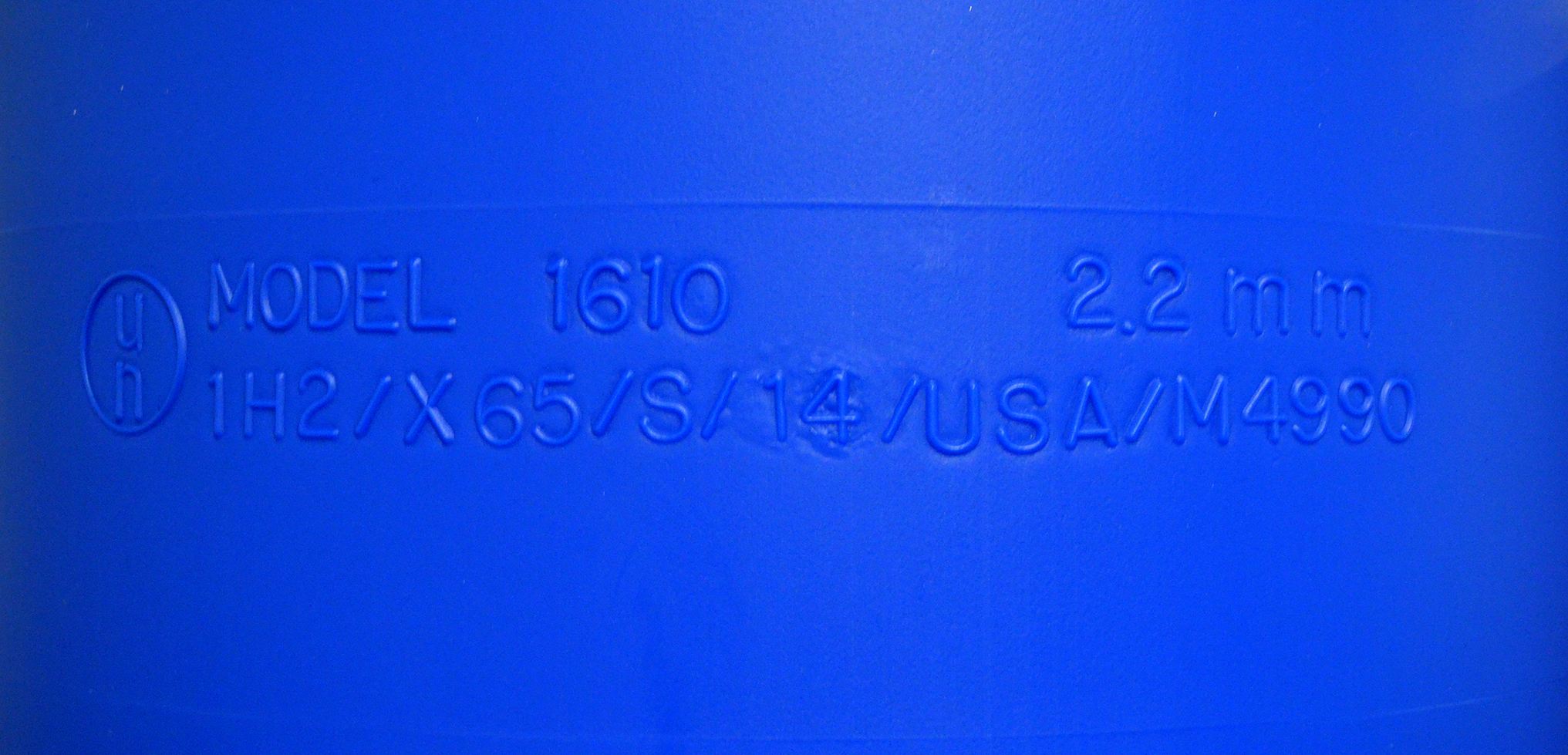 UN Packaging Code embossed on Drum